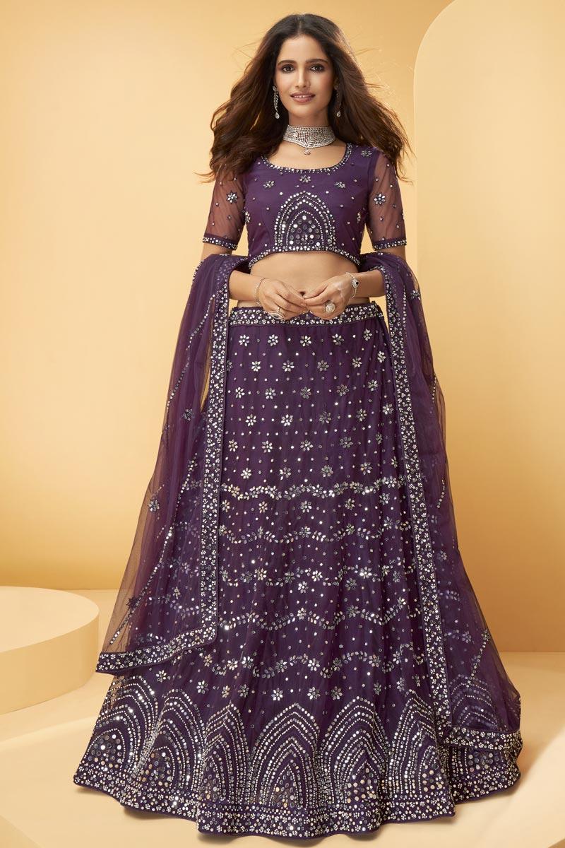 Purple Color Embroidered Wedding Wear Lehenga Choli In Net Fabric