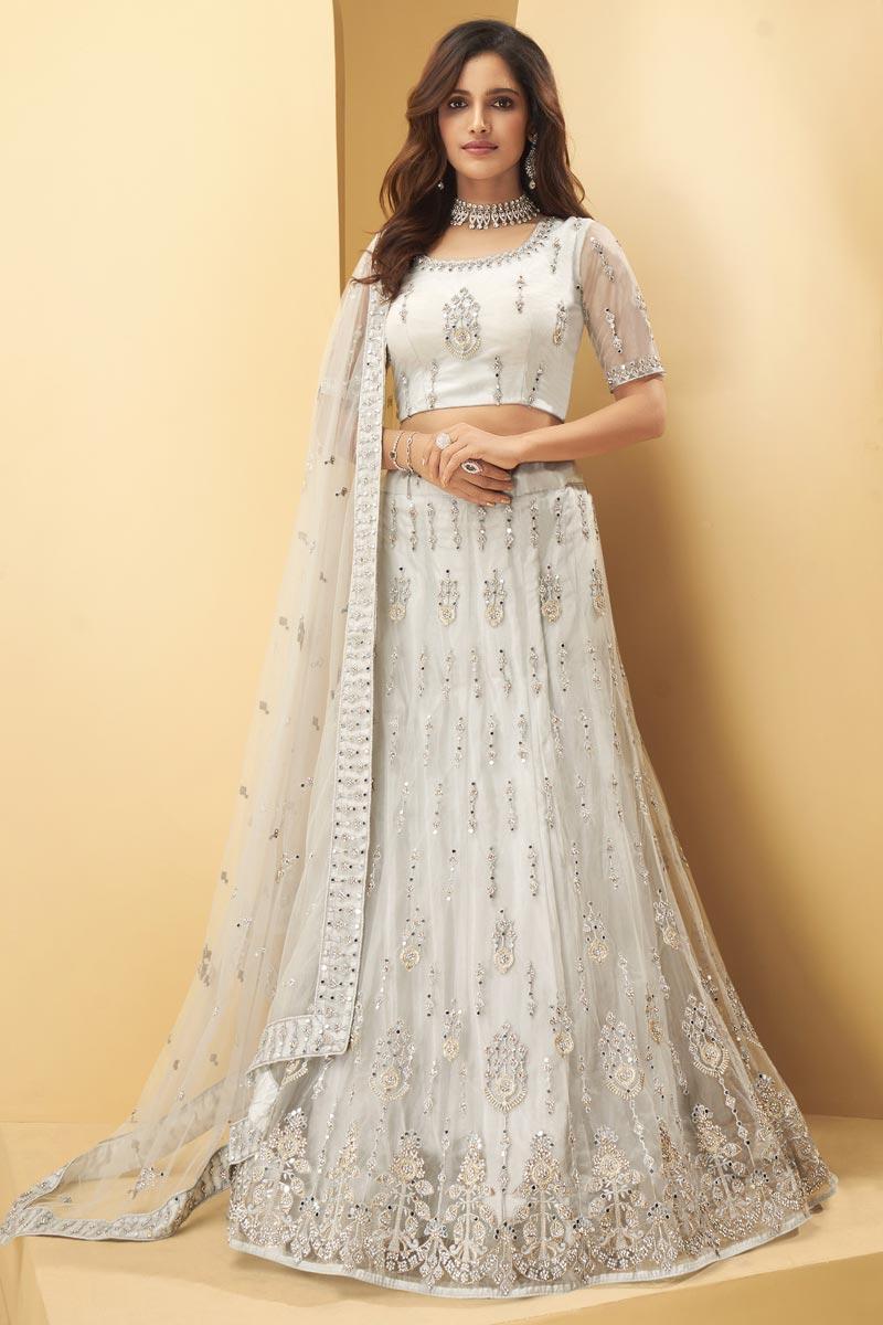Wedding Wear Off White Color Net Fabric Embroidered Lehenga Choli