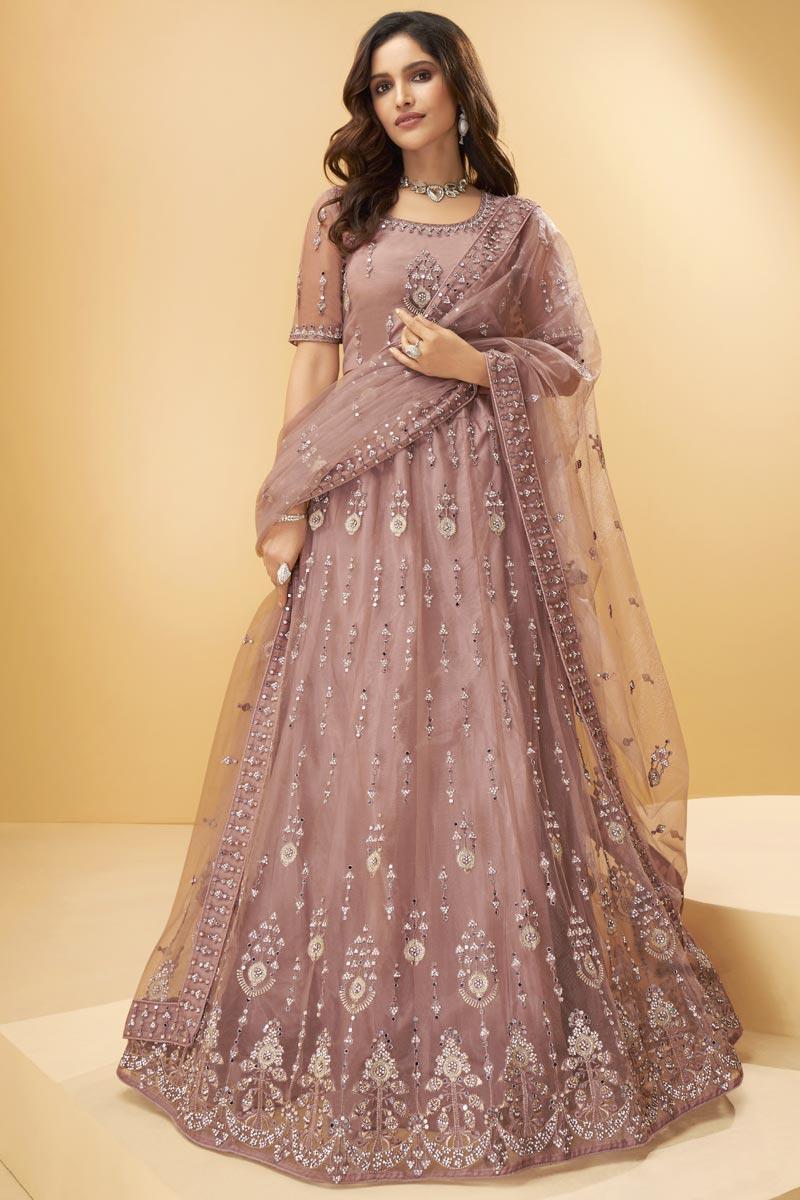 Peach Color Wedding Wear Net Fabric Embroidered Lehenga Choli