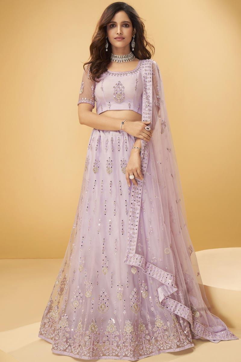 Lavender Color Net Fabric Fancy Embroidered Wedding Wear Lehenga Choli