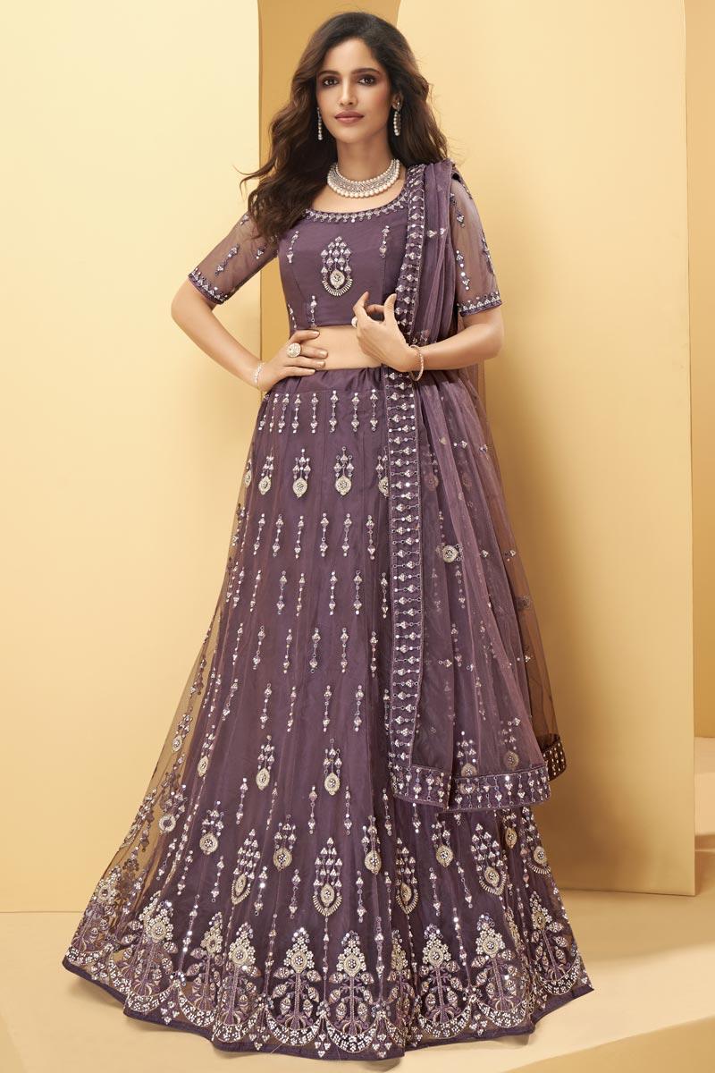 Net Fabric Embroidered Wedding Wear Designer Lehenga Choli In Wine Color