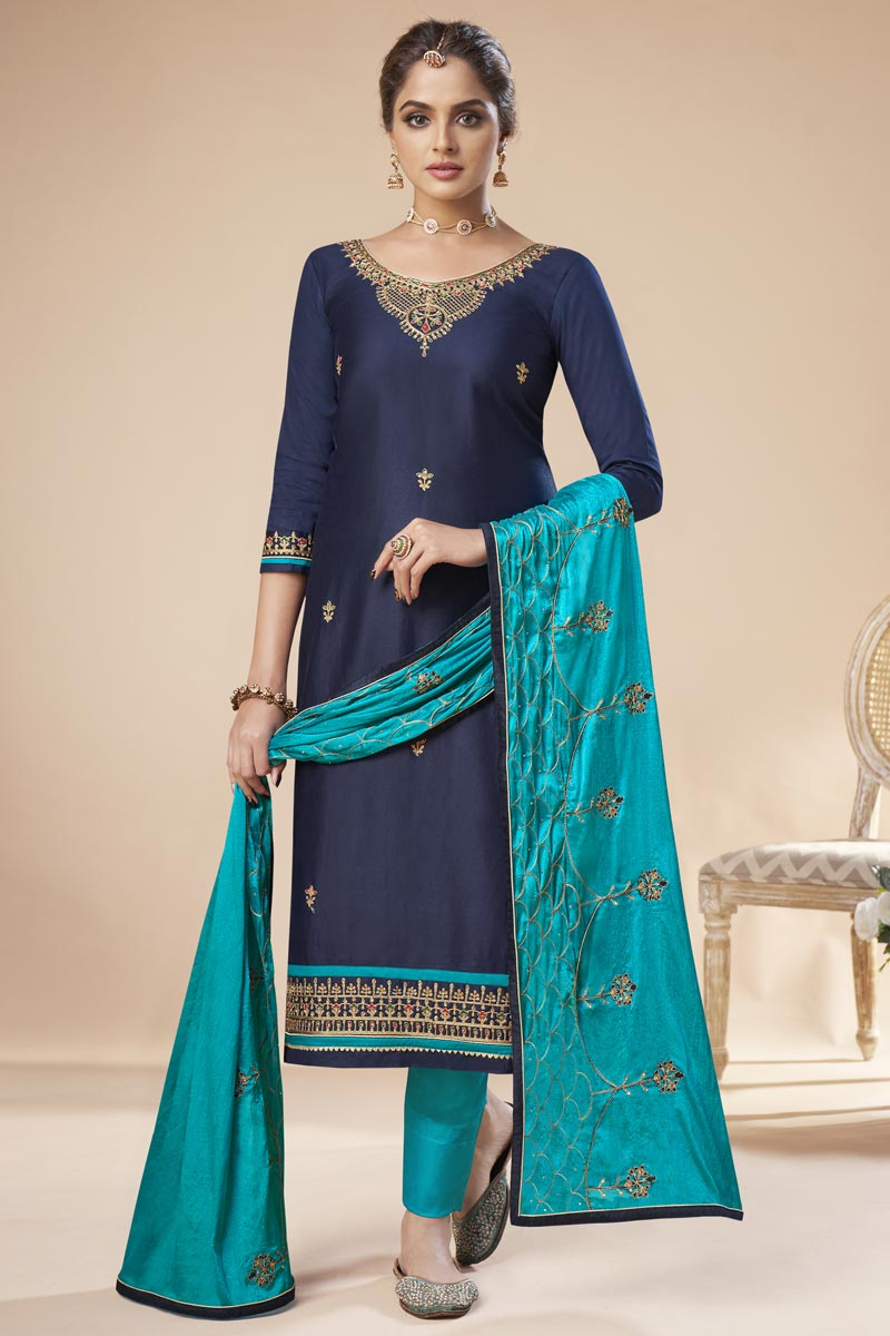 Navy Blue Color Festive Wear Trendy Embroidered Straight Cut Suit In Art Silk Fabric