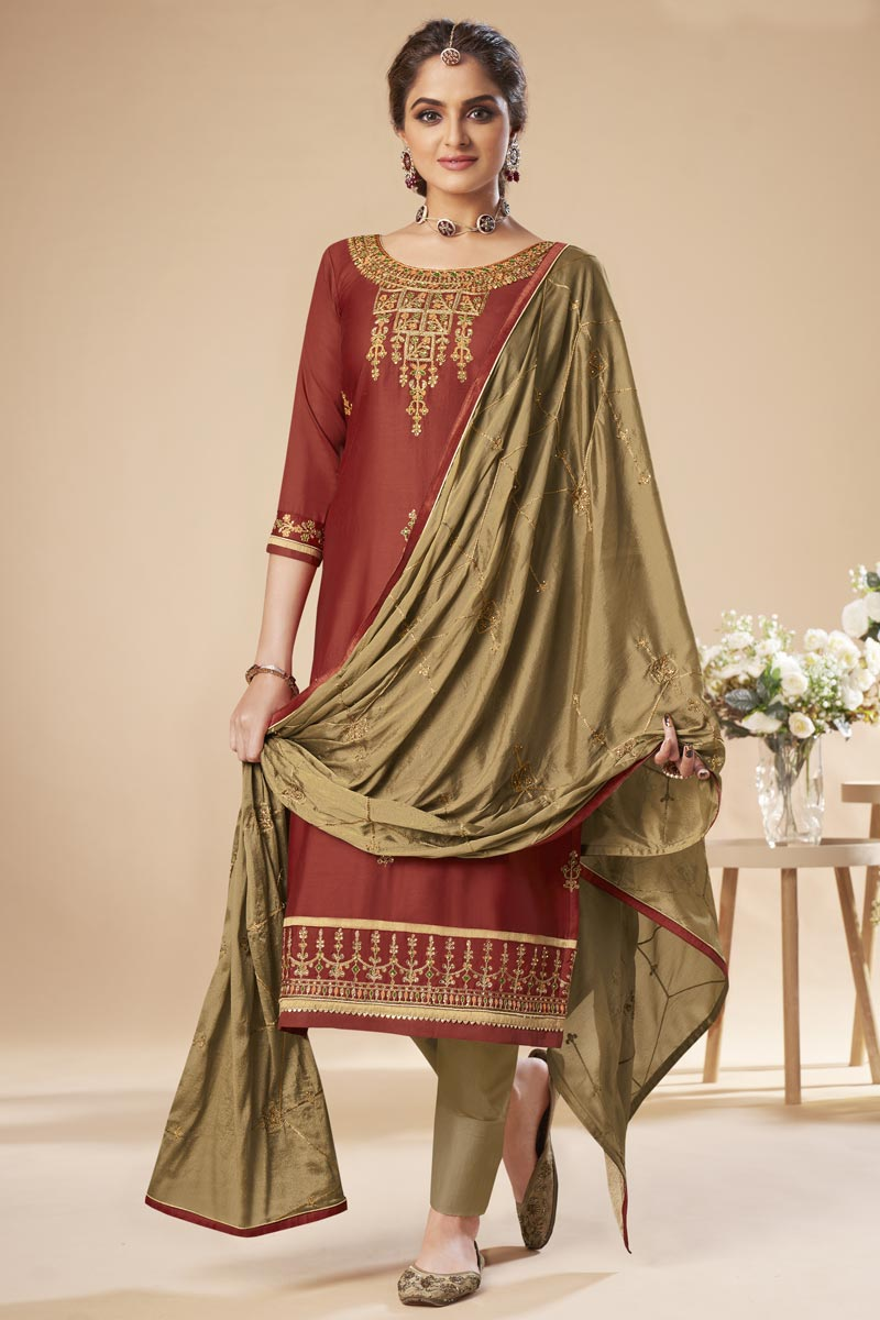 Festive Wear Brown Color Trendy Art Silk Fabric Embroidered Straight Cut Dress