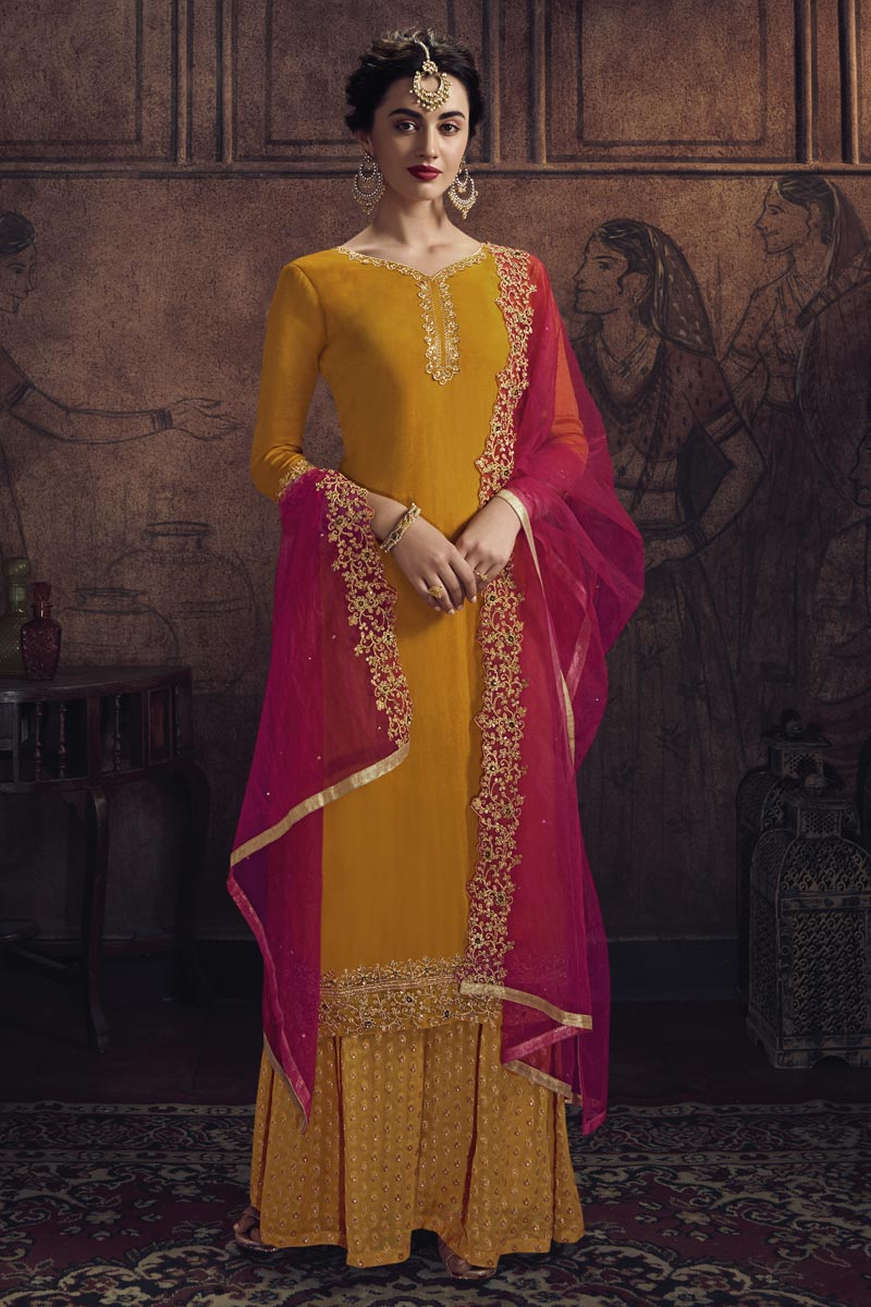 Mustard Color Sangeet Function Wear Palazzo Suit In Georgette Fabric