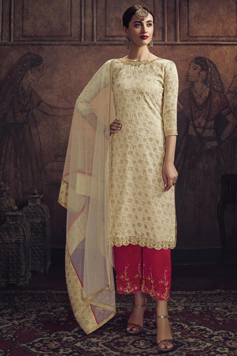 Jacquard Fabric Sangeet Function Wear Beige Color Palazzo Suit