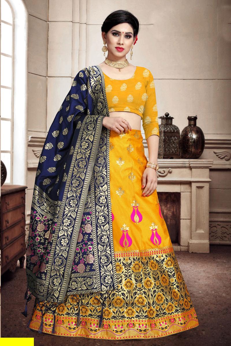 Yellow Color Designer Weaving Work Lehenga Choli In Art Silk Fabric With Alluring Blouse
