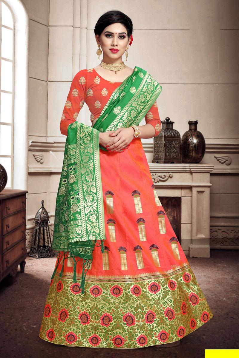 Weaving Work Salmon Color Wedding Wear Lehenga In Art Silk Fabric With Designer Choli