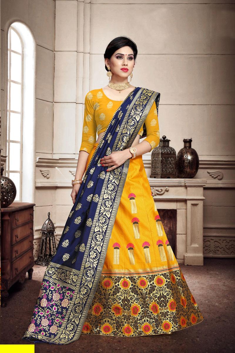 Fancy Weaving Work Yellow Color Designer 3 Piece Lehenga Choli In Art Silk Fabric