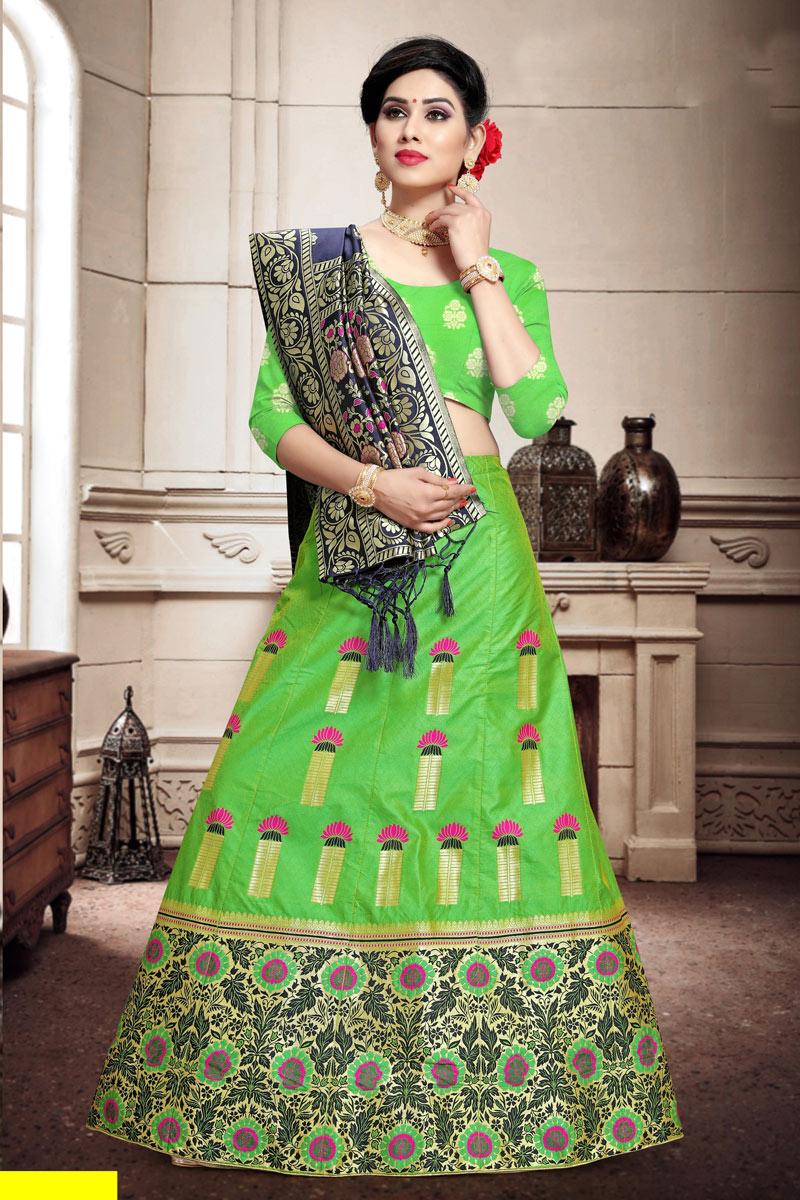 Art Silk Fabric Reception Wear Lehenga Choli In Green Color With Weaving Work