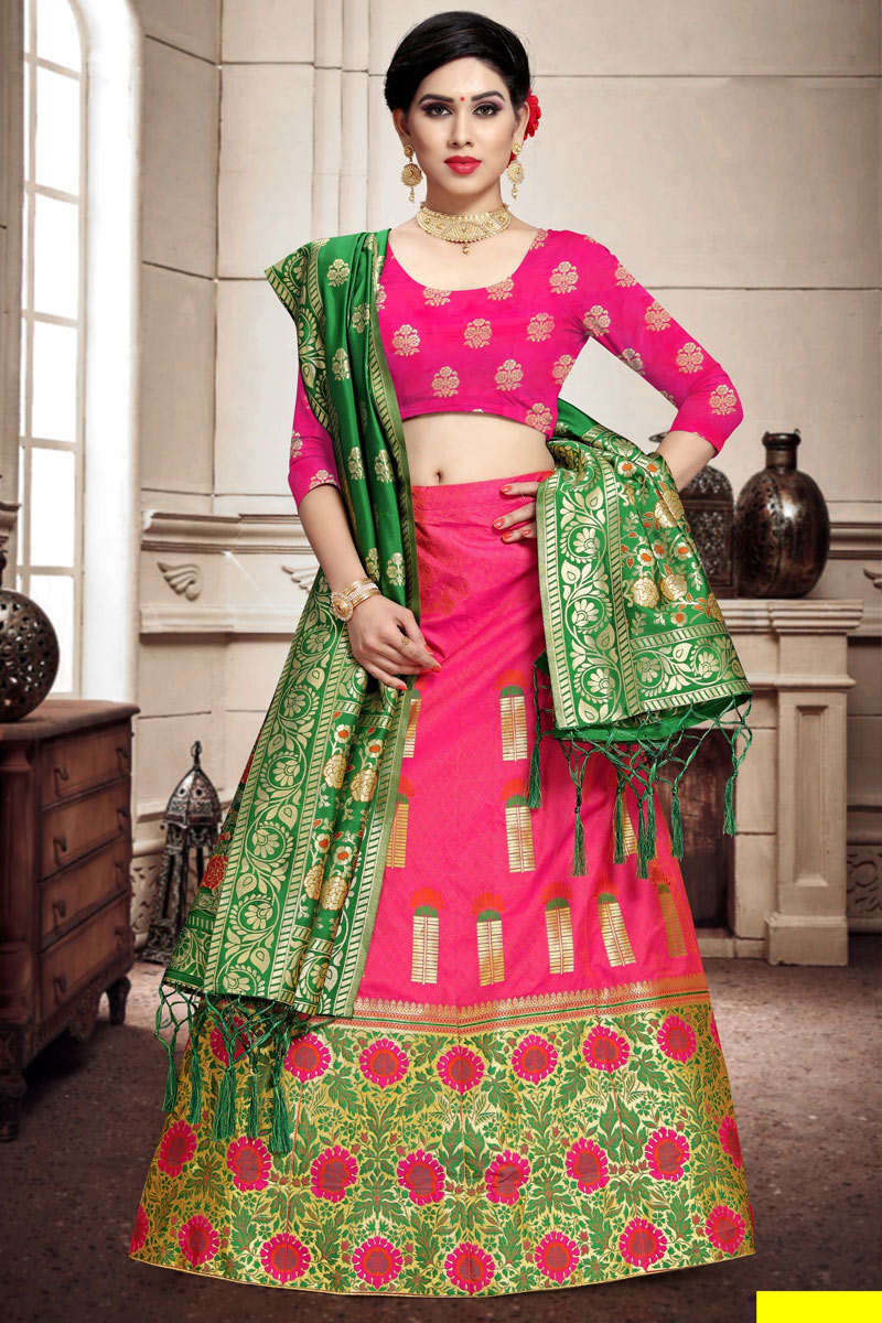 Art Silk Fabric Rani Color Festive Wear 3 Piece Lehenga Choli