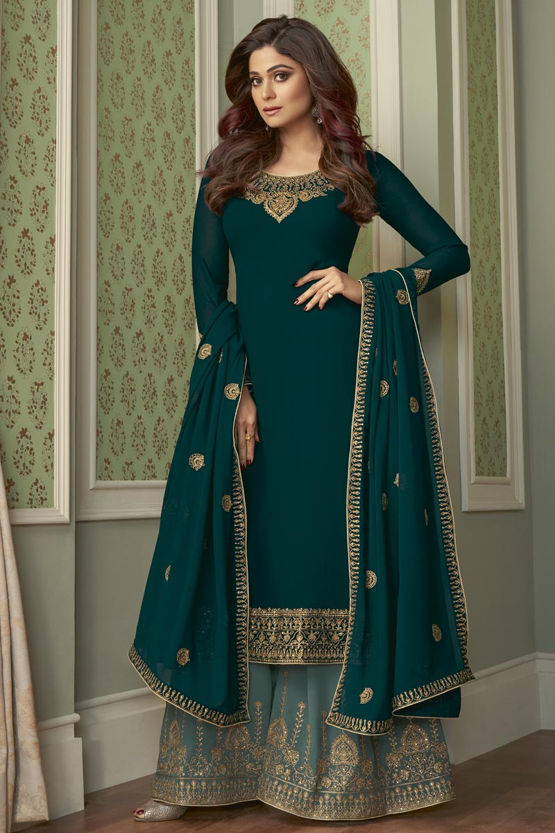 Shamita Shetty Teal Color Party Style Fancy Embroidered Palazzo Dress