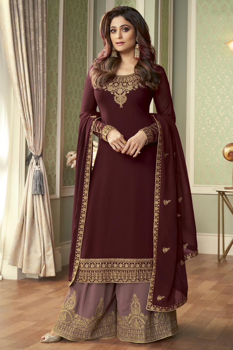 Shamita Shetty Party Style Brown Color Fancy Embroidered Palazzo Suit