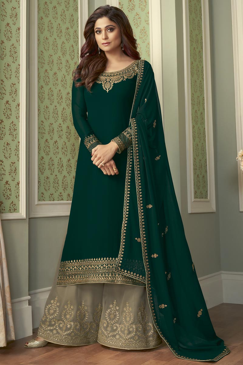 Shamita Shetty Party Style Fancy Dark Green Color Embroidered Palazzo Dress