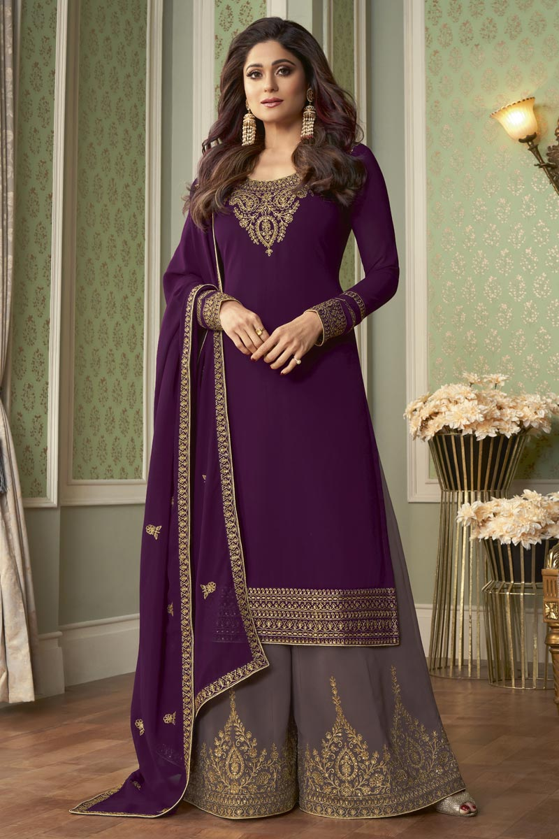 Shamita Shetty Party Style Fancy Embroidered Palazzo Dress In Purple Color
