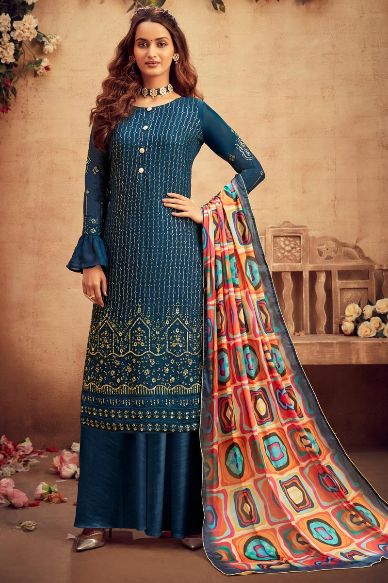 Navy Blue Color Embroidered Palazzo Salwar Kameez In Viscose Fabric