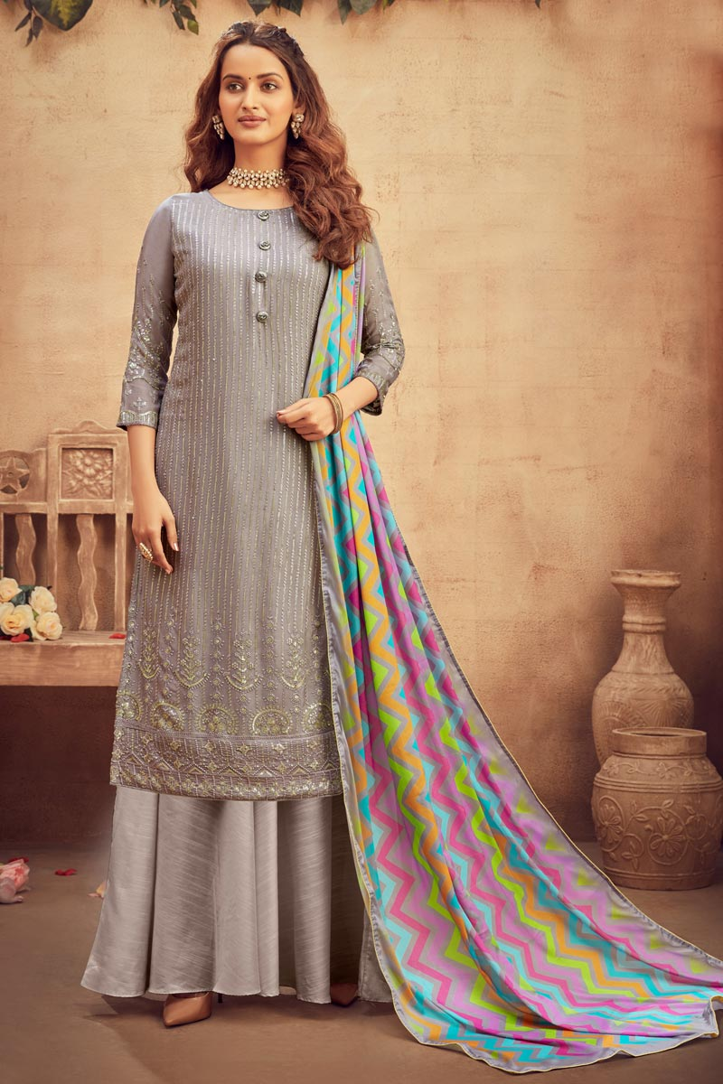 Viscose Fabric Party Wear Palazzo Salwar Suit In Dark Beige Color With Embroidery Work