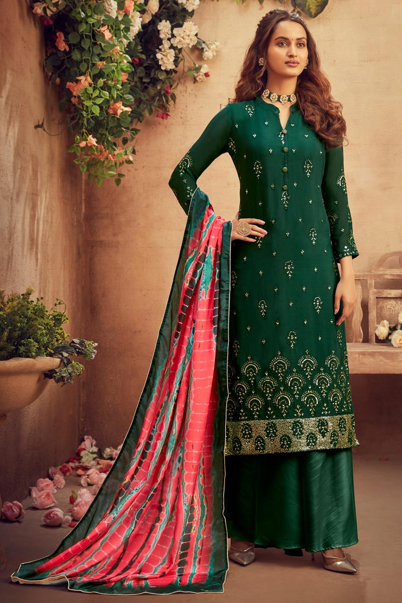 Dark Green Color Viscose Fabric Function Wear Embroidered Palazzo Suit