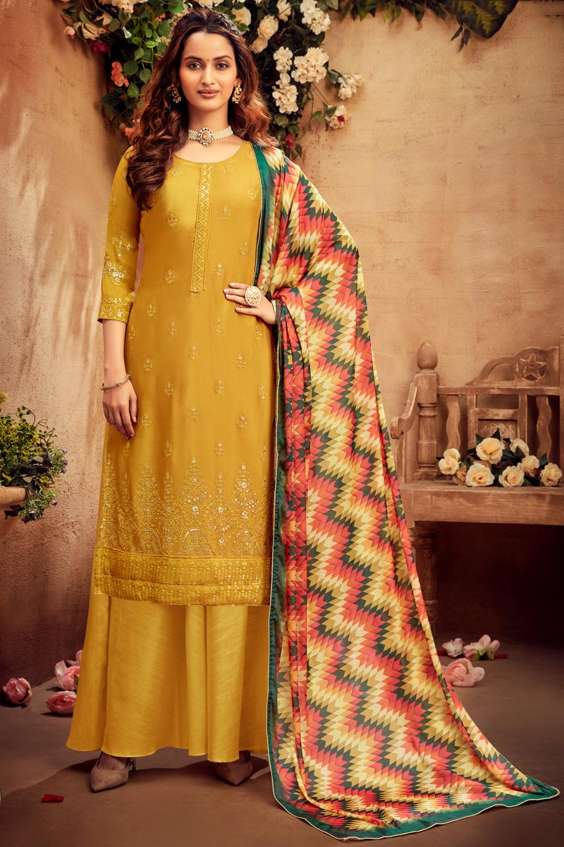 Occasion Wear Yellow Color Embroidered Palazzo Salwar Kameez In Viscose Fabric