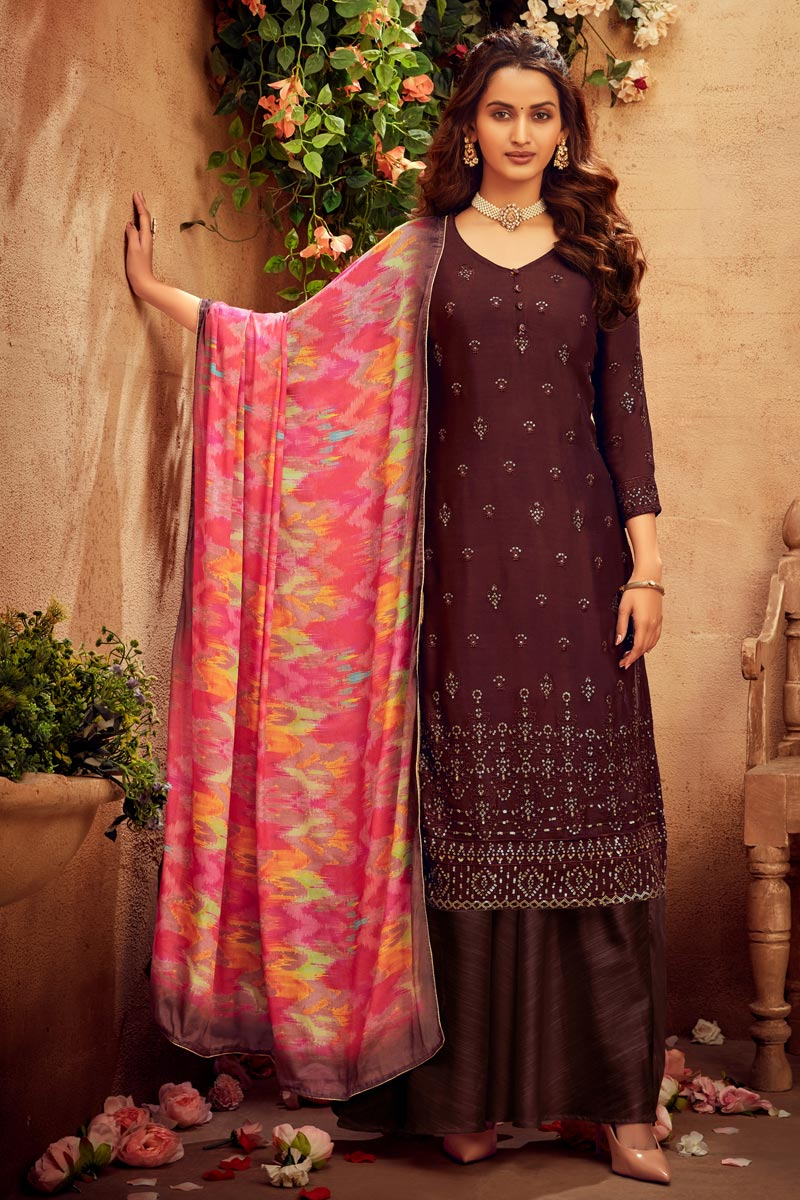 Embroidery Work Brown Color Viscose Fabric Palazzo Salwar Suit
