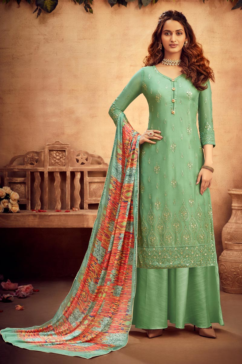 Viscose Fabric Sea Green Color Palazzo Suit With Embroidery Work
