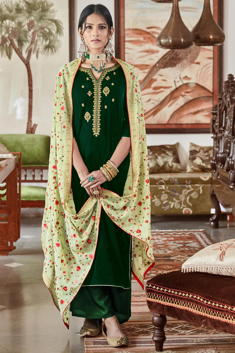 Sangeet Function Wear Dark Green Elegant Velvet Fabric Embroidered Palazzo Dress