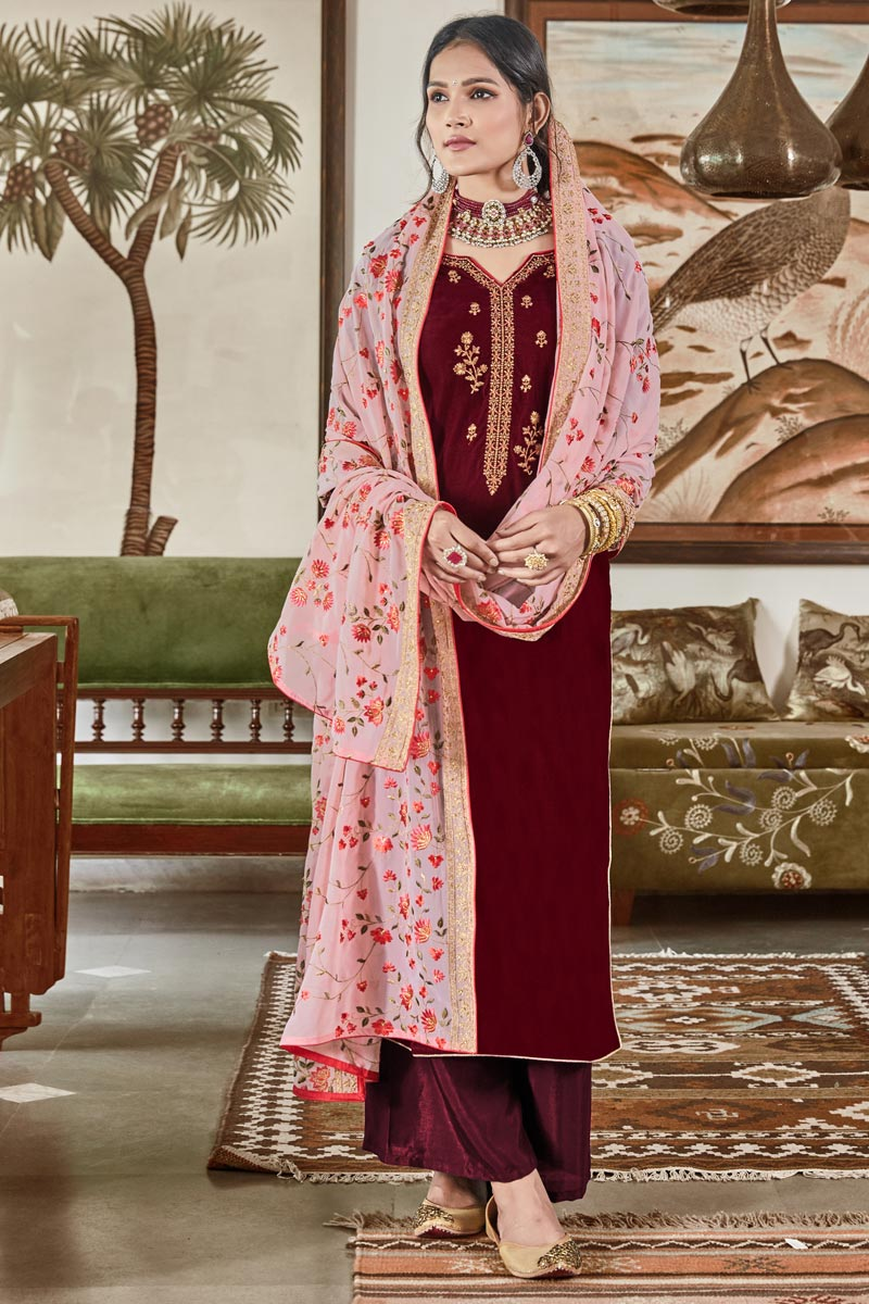Elegant Velvet Fabric Sangeet Function Wear Embroidered Palazzo Suit In Maroon
