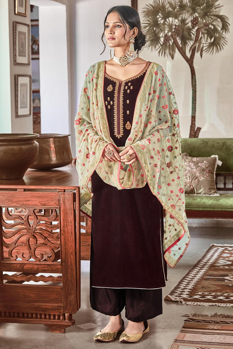 Sangeet Function Wear Elegant Brown Embroidered Velvet Fabric Palazzo Dress
