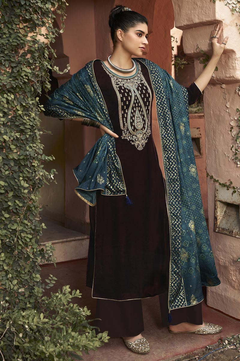 Elegant Velvet Fabric Sangeet Wear Embroidered Palazzo Suit In Brown Color