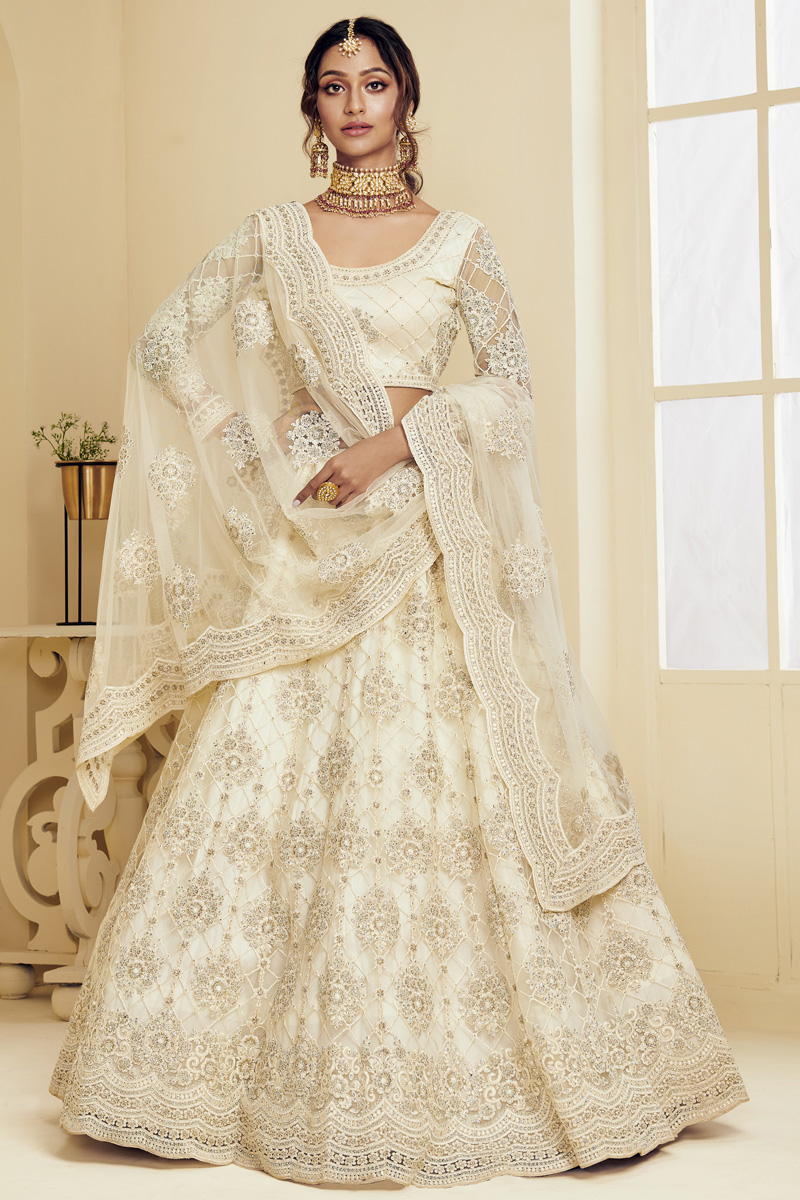 Fancy Off White Color Sangeet Wear Net Fabric Embroidered Lehenga Choli