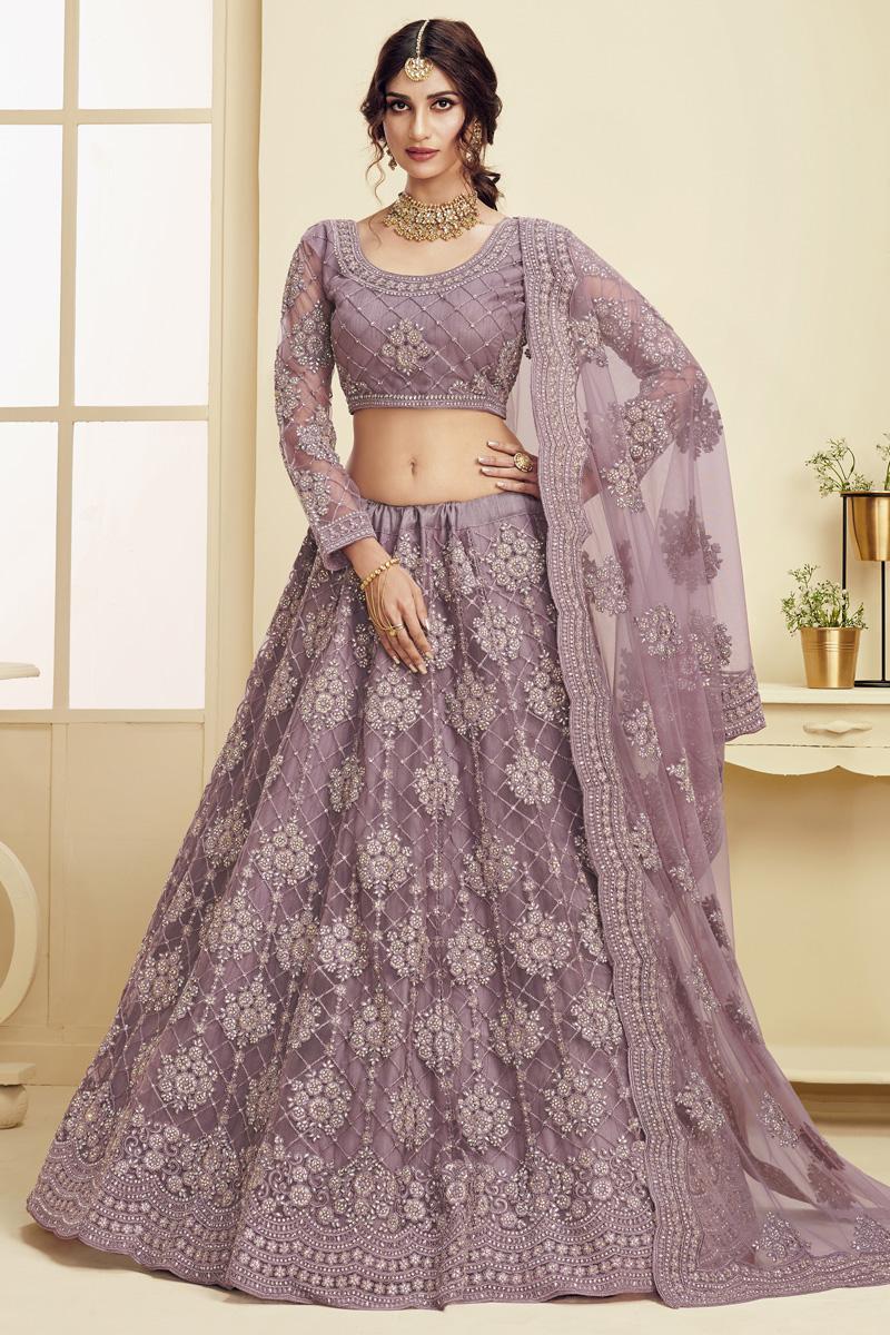 Sangeet Wear Fancy Net Fabric Embroidered Lavender Color Lehenga Choli