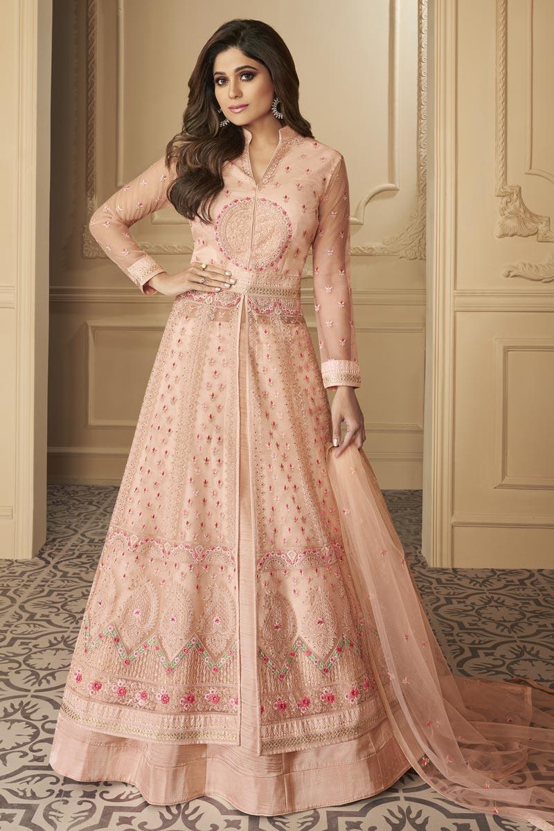 Shamita Shetty Net Fabric Reception Wear Embroidered Peach Color Long Anarkali Suit