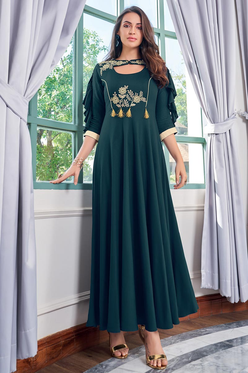 Rayon Fabric Teal Thread Embroidered Party Wear Gown Style Kurti