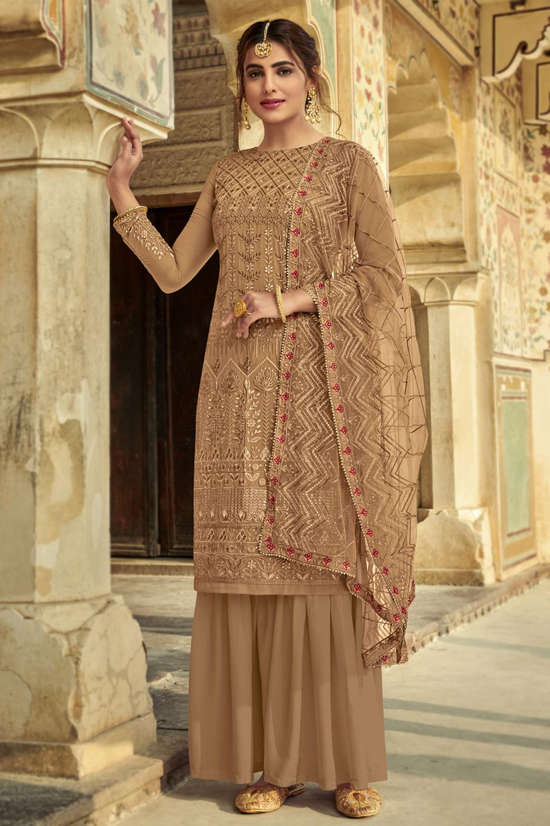 Chikoo Color Function Wear Fancy Embroidered Georgette Fabric Sharara Suit