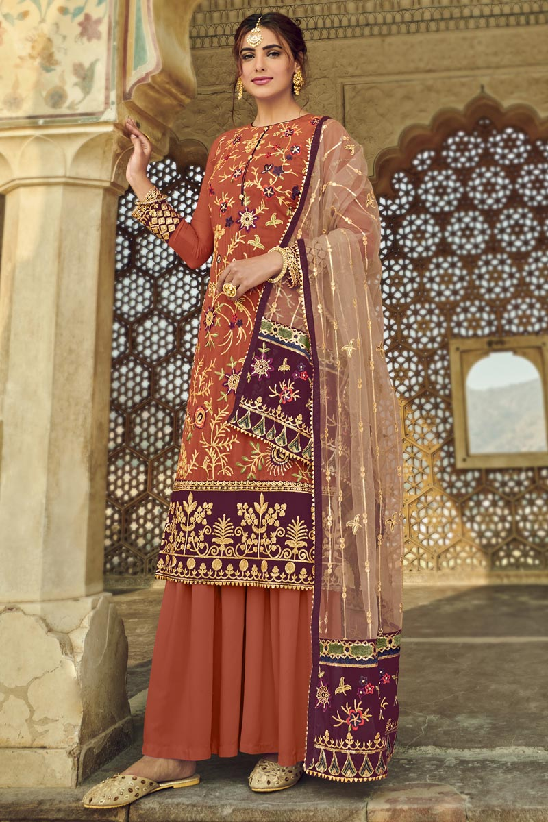 Peach Color Function Wear Fancy Embroidered Georgette Fabric Sharara Dress