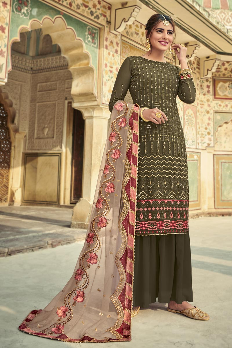 Georgette Fabric Function Wear Khaki Color Fancy Embroidered Sharara Suit