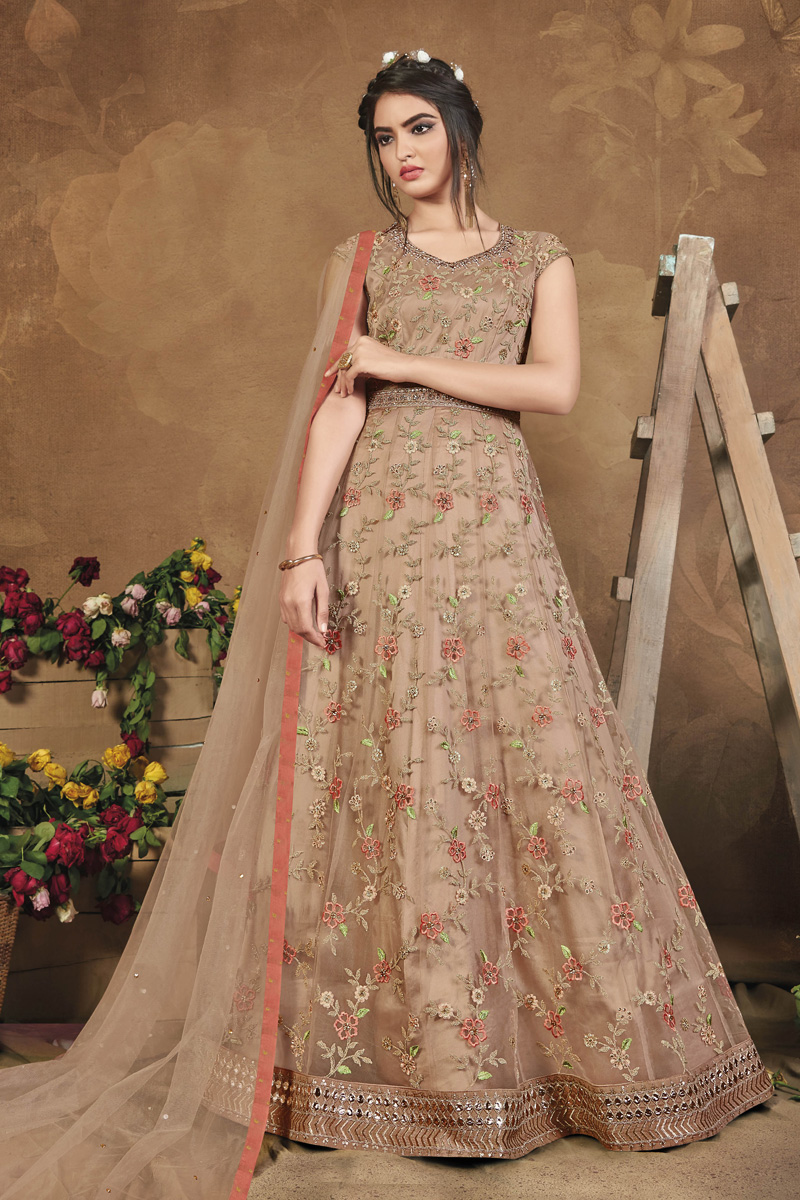 Net Fabric Sangeet Wear Chikoo Color Embroidered Gown Style Anarkali Suit