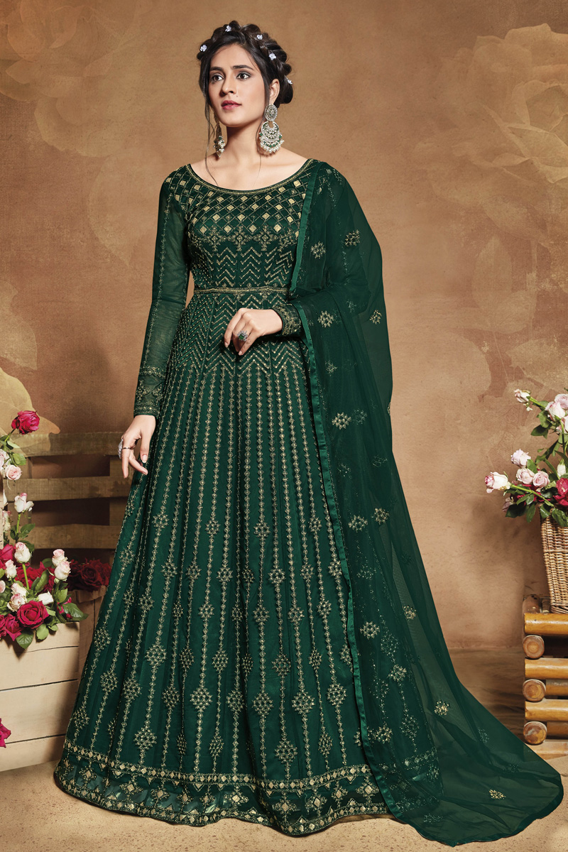 Dark Green Color Sangeet Wear Embroidered Gown Style Anarkali Dress In Net Fabric