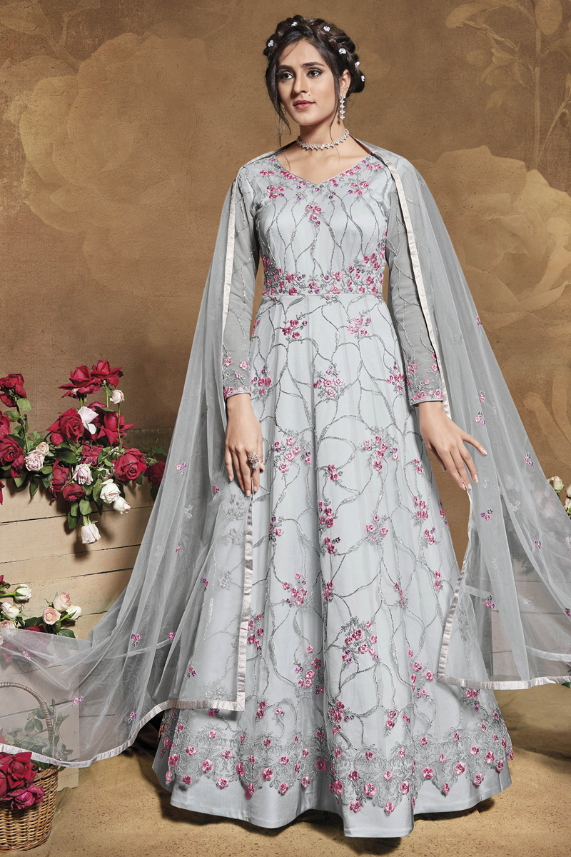 Sangeet Wear Grey Color Net Fabric Embroidered Gown Style Anarkali Suit