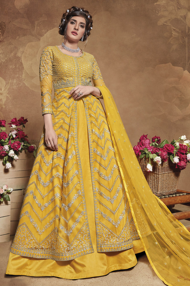 Sangeet Wear Yellow Color Embroidered Gown Style Anarkali Dress In Net Fabric