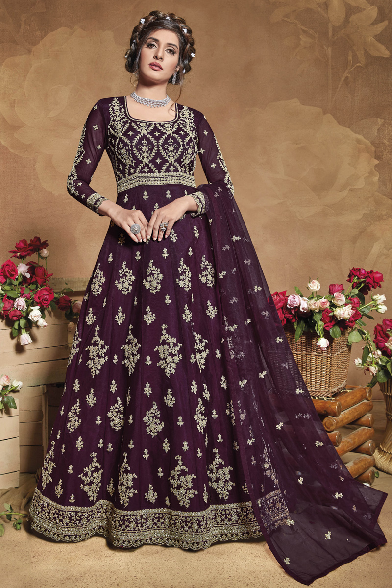 Sangeet Wear Net Fabric Embroidered Gown Style Anarkali Suit In Wine Color