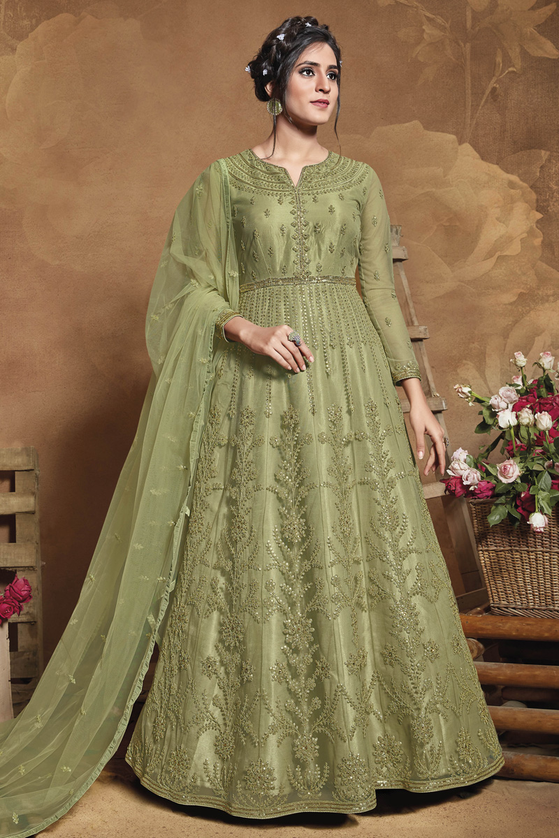 Sangeet Wear Embroidered Net Fabric Gown Style Anarkali Dress In Sea Green Color