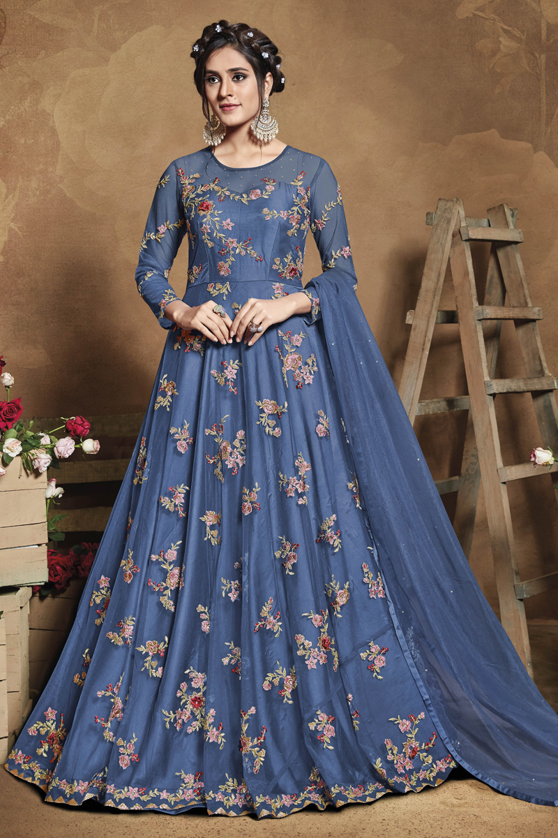 Blue Color Sangeet Wear Net Fabric Embroidered Gown Style Anarkali Suit