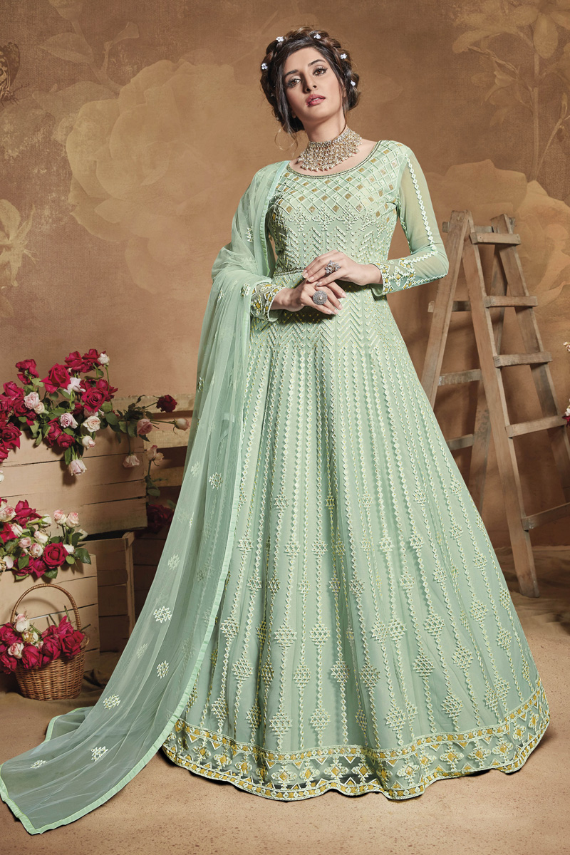 Net Fabric Sangeet Wear Embroidered Gown Style Anarkali Dress In Light Cyan Color
