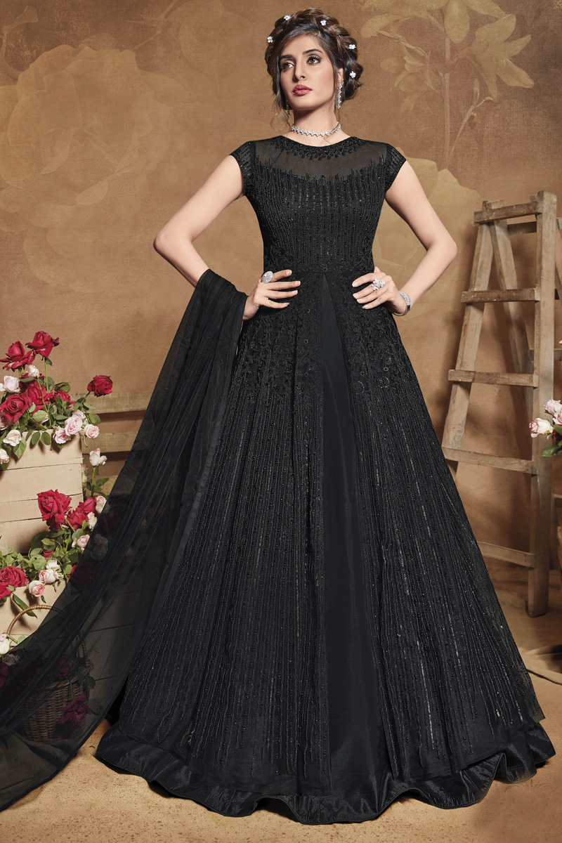 Sangeet Wear Net Fabric Black Color Embroidered Gown Style Anarkali Suit