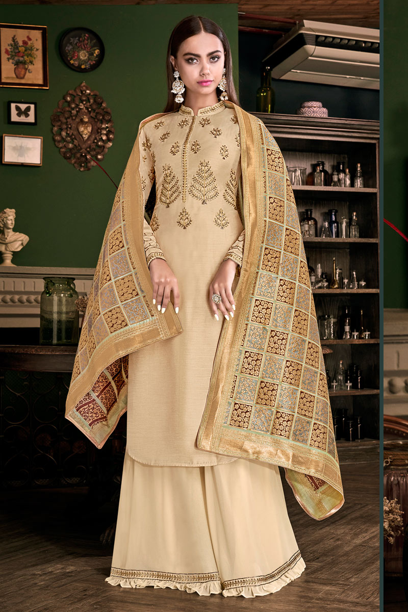 Satin Fabric Cream Color Function Wear Embroidered Palazzo Suit
