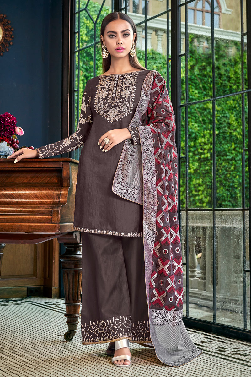 Occasion Wear Satin Fabric Embroidered Palazzo Salwar Kameez In Wine Color