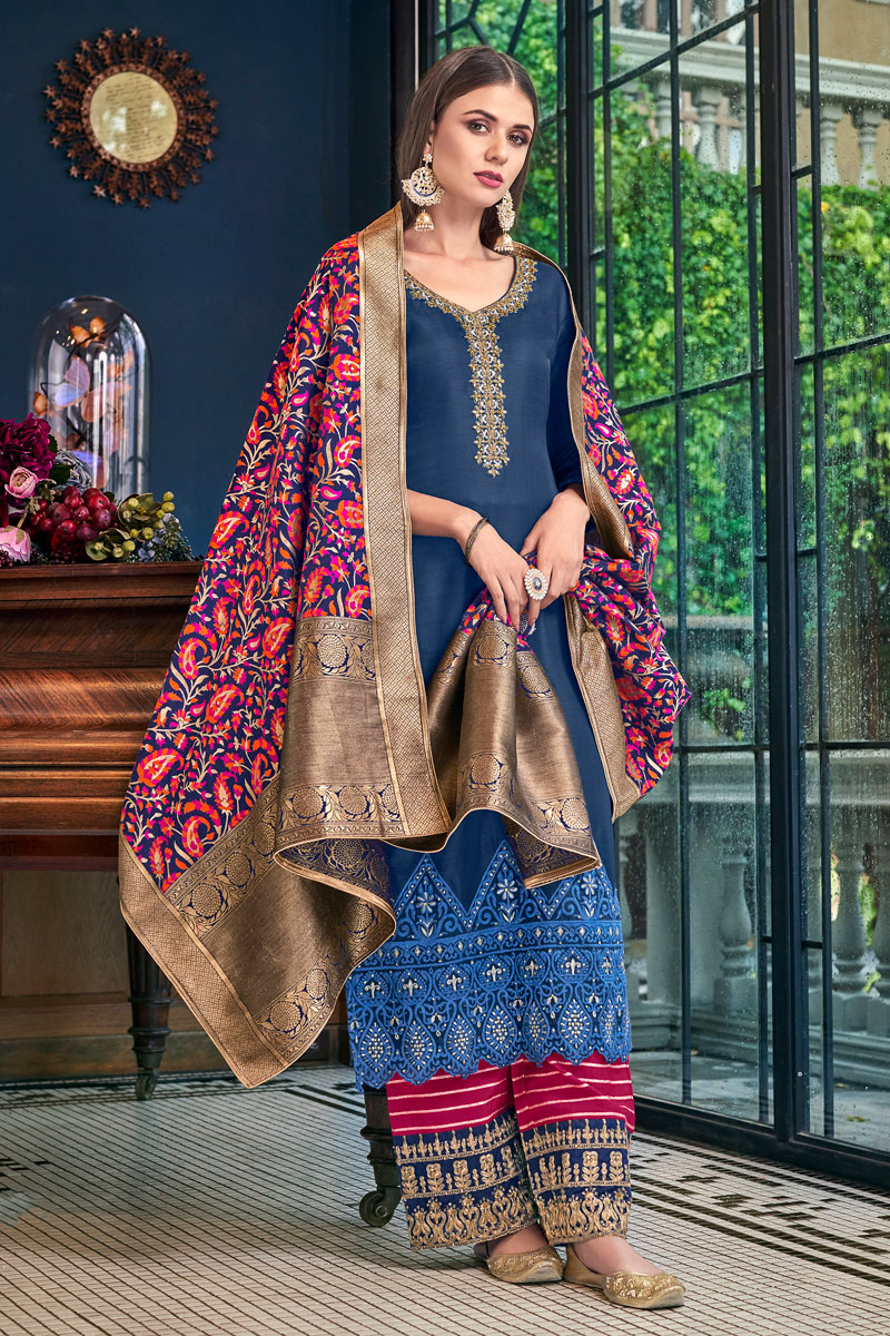 Navy Blue Color Satin Fabric Festive Wear Palazzo Salwar Kameez With Embroidery Work