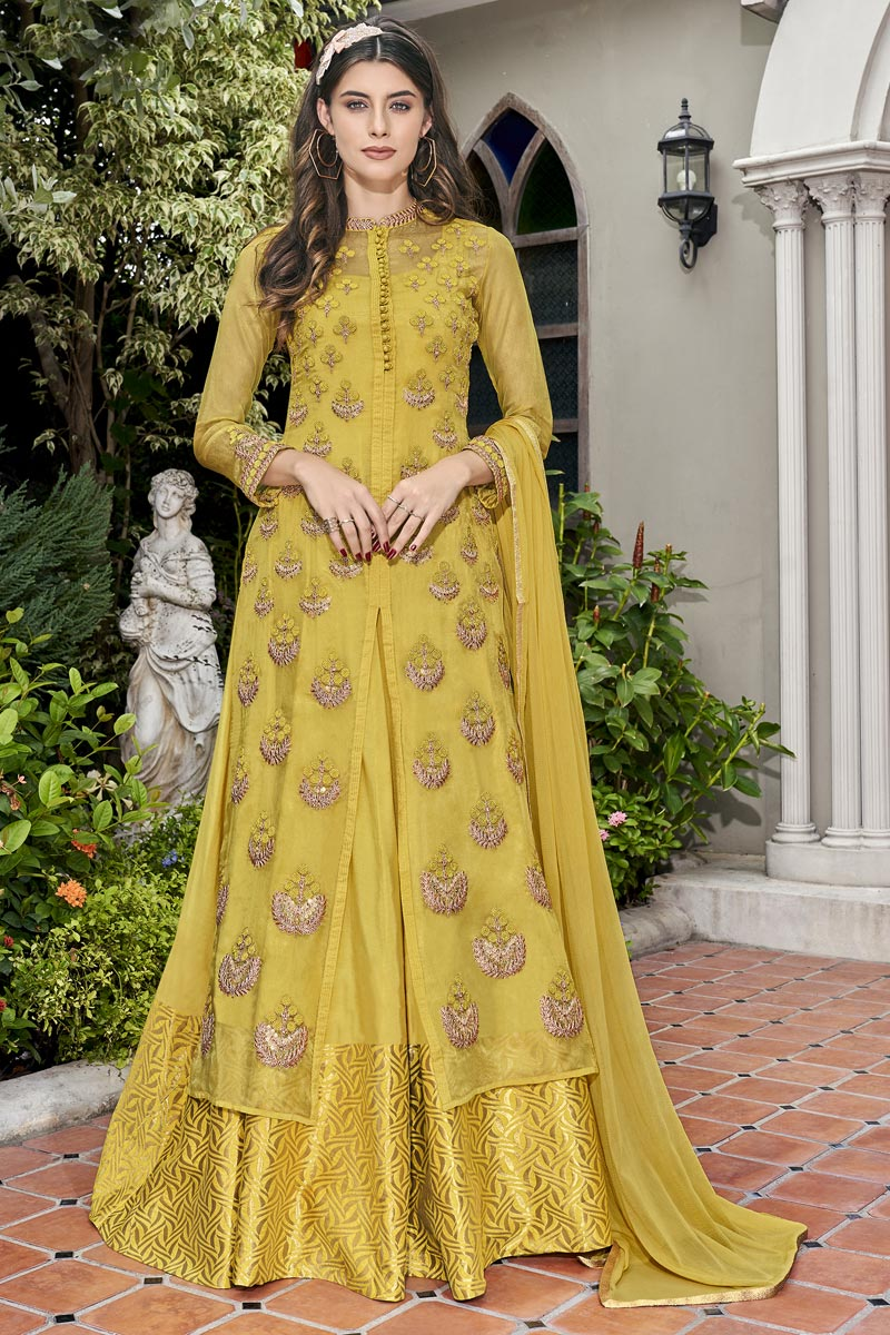 Eid Special Fancy Fabric Designer Function Wear Embroidered Yellow Gown