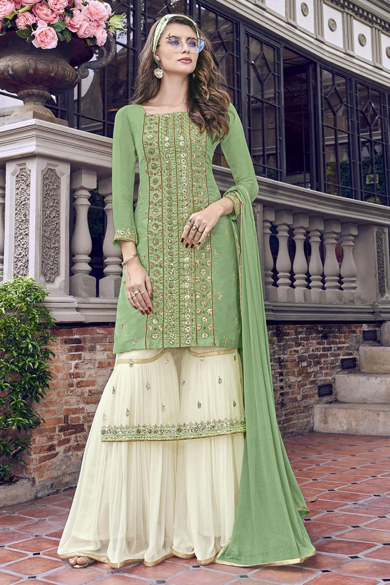 Eid Special Designer Sea Green Embroidered Function Wear Sharara Suit In Net Fabric