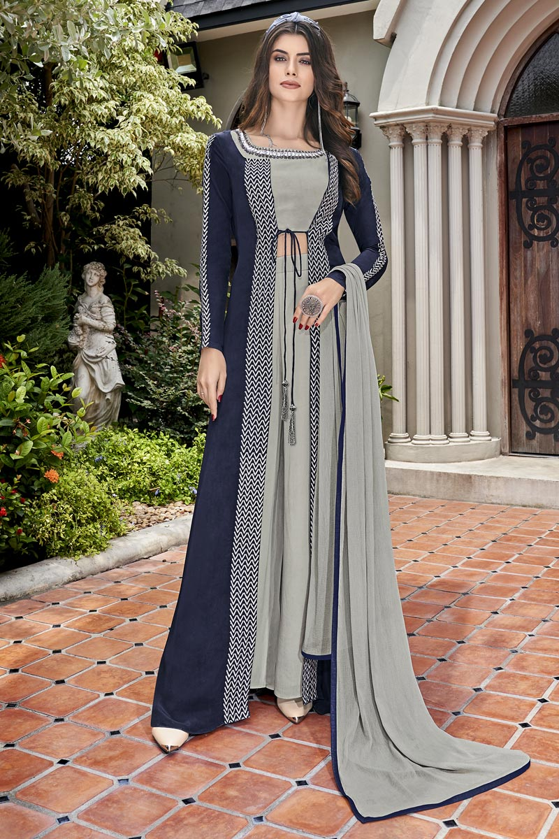 Eid Special Crepe Designer Function Wear Grey Embroidered Indo Western Suit